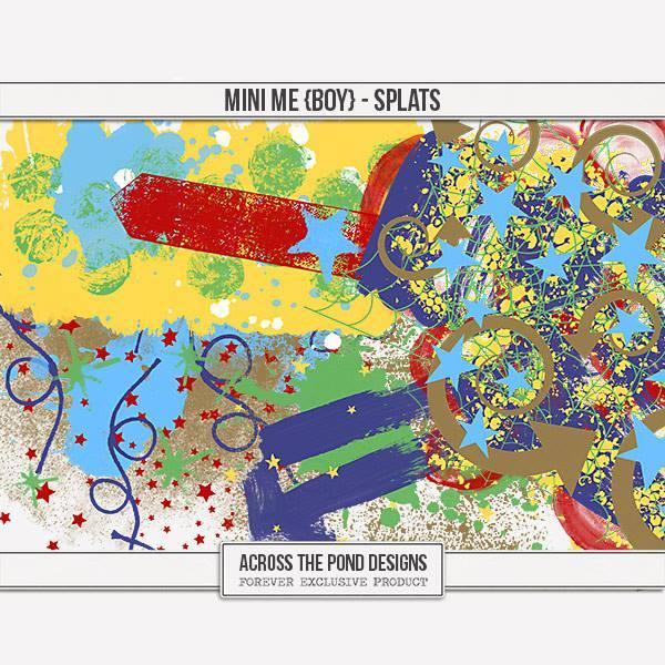 Mini Me - Boy Splats Digital Art - Digital Scrapbooking Kits