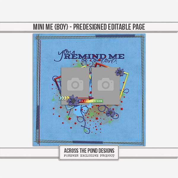 Mini Me - Boy Predesigned Editable Page Digital Art - Digital Scrapbooking Kits