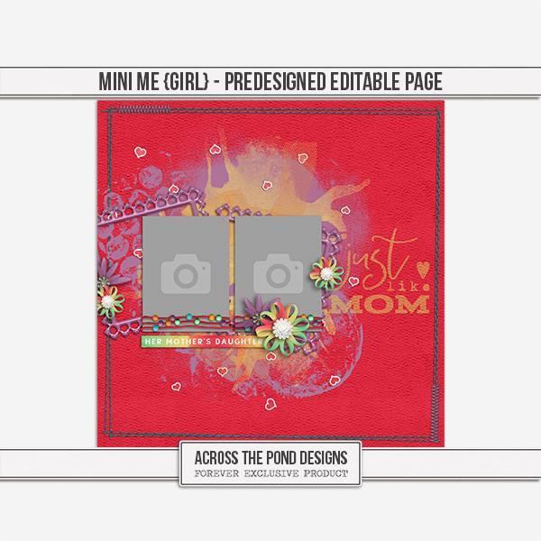 Mini Me - Girl Predesigned Editable Page Digital Art - Digital Scrapbooking Kits