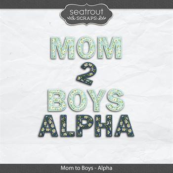 Mom To Boys Alpha Digital Art - Digital Scrapbooking Kits