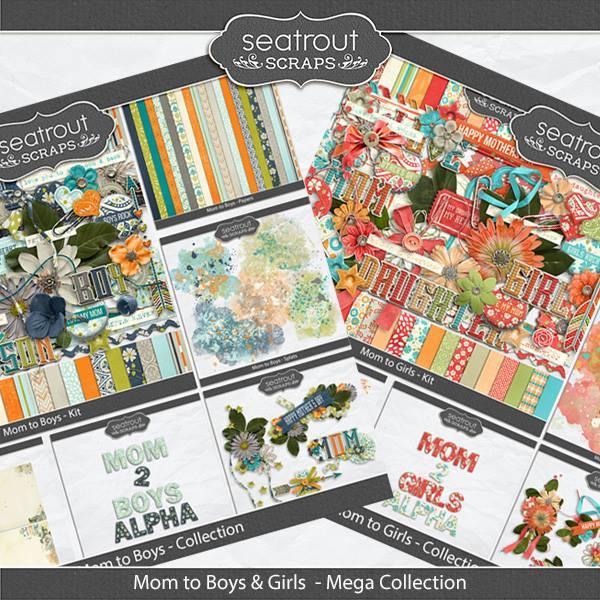 Mom To Boys And Girls Mega Collection Digital Art - Digital Scrapbooking Kits