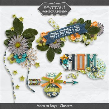 Mom To Boys Clusters Digital Art - Digital Scrapbooking Kits