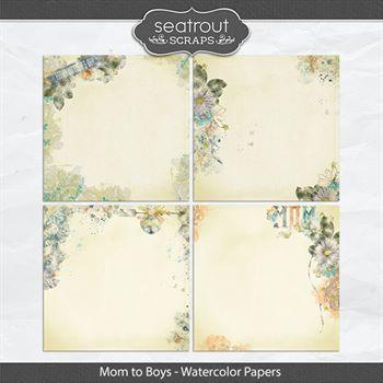 Mom To Boys Watercolor Papers Digital Art - Digital Scrapbooking Kits