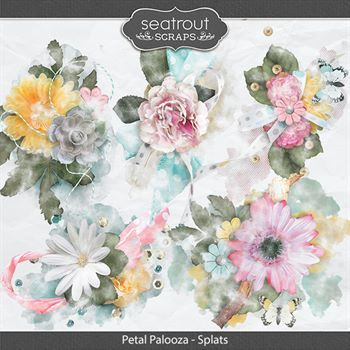 Petal Palooza Splats Digital Art - Digital Scrapbooking Kits