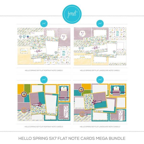 Hello Spring 5x7 Flat Note Cards Mega Bundle Digital Art - Digital Scrapbooking Kits