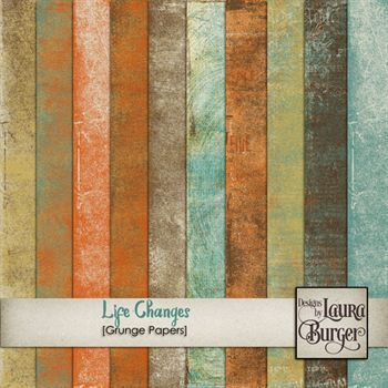 Life Changes Grunge Papers Digital Art - Digital Scrapbooking Kits