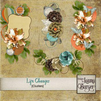 Life Changes Clusters Digital Art - Digital Scrapbooking Kits