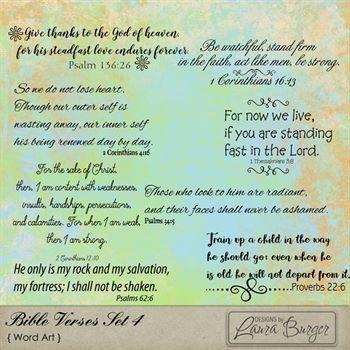 Bible Verses Set 4 Digital Art - Digital Scrapbooking Kits