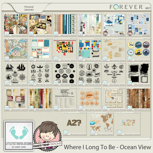 Where I Long To Be - Ocean View Mega Bundle Digital Art - Digital Scrapbooking Kits