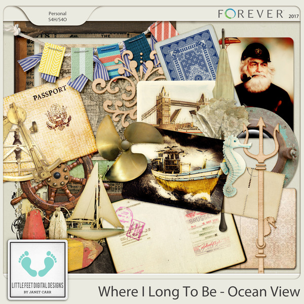 Where I Long To Be - Ocean View Add-on Elements Digital Art - Digital Scrapbooking Kits
