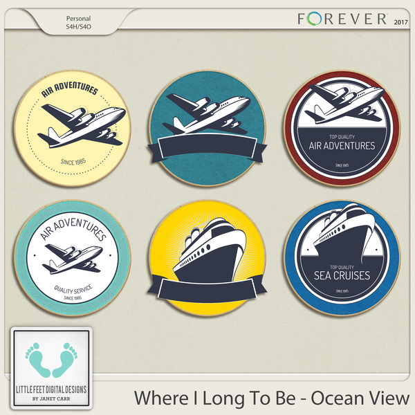 Where I Long To Be - Ocean View Chipboard Stickers Digital Art - Digital Scrapbooking Kits