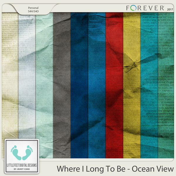 Where I Long To Be - Ocean View Crinkle Solids Digital Art - Digital Scrapbooking Kits