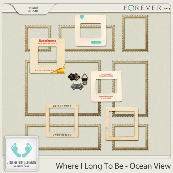Where I Long To Be - Ocean View Frames Digital Art - Digital Scrapbooking Kits