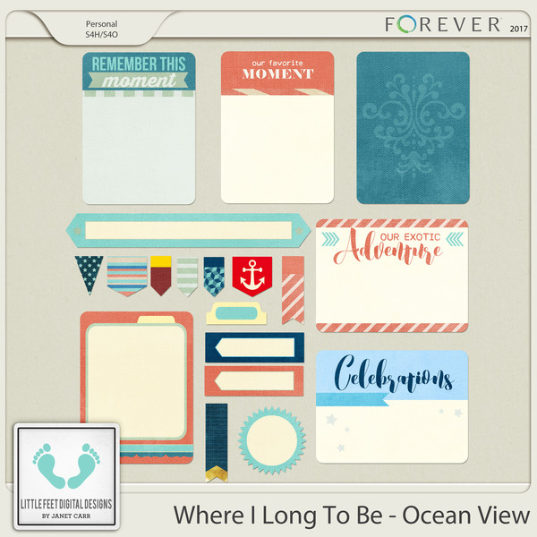 Where I Long To Be - Ocean View Journal Cards, Tags & Stickers Digital Art - Digital Scrapbooking Kits