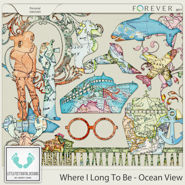 Where I Long To Be - Ocean View Map Silhouettes Digital Art - Digital Scrapbooking Kits