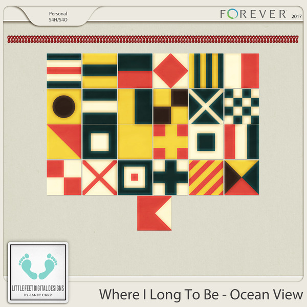 Where I Long To Be - Ocean View Nautical Flags Digital Art - Digital Scrapbooking Kits