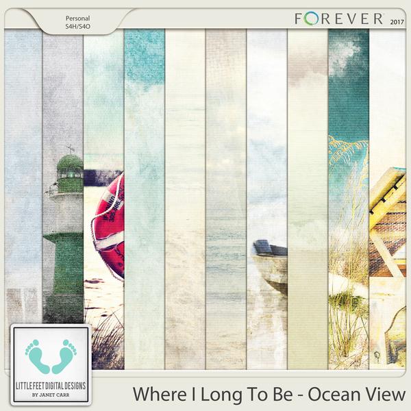 Where I Long To Be - Ocean View Painted Papers Digital Art - Digital Scrapbooking Kits