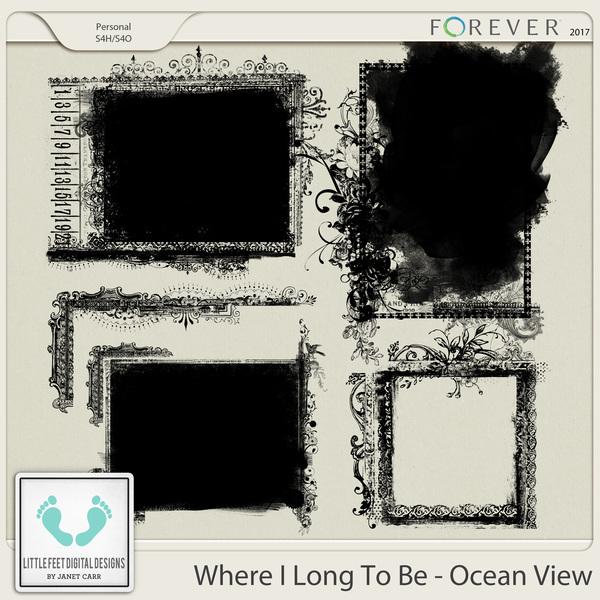 Where I Long To Be - Ocean View Photo Masks Digital Art - Digital Scrapbooking Kits