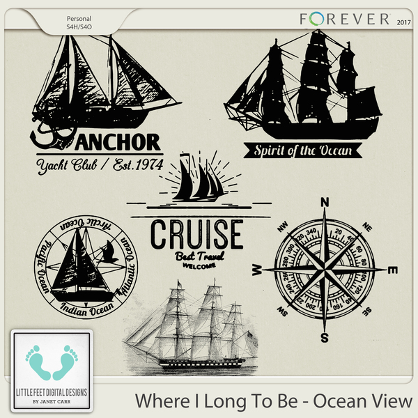 Where I Long To Be - Ocean View Stamps Digital Art - Digital Scrapbooking Kits