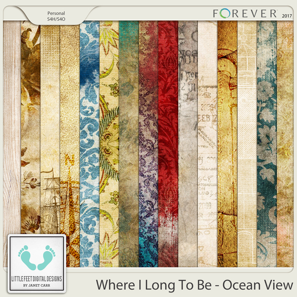 Where I Long To Be - Ocean View Vintage Papers Digital Art - Digital Scrapbooking Kits