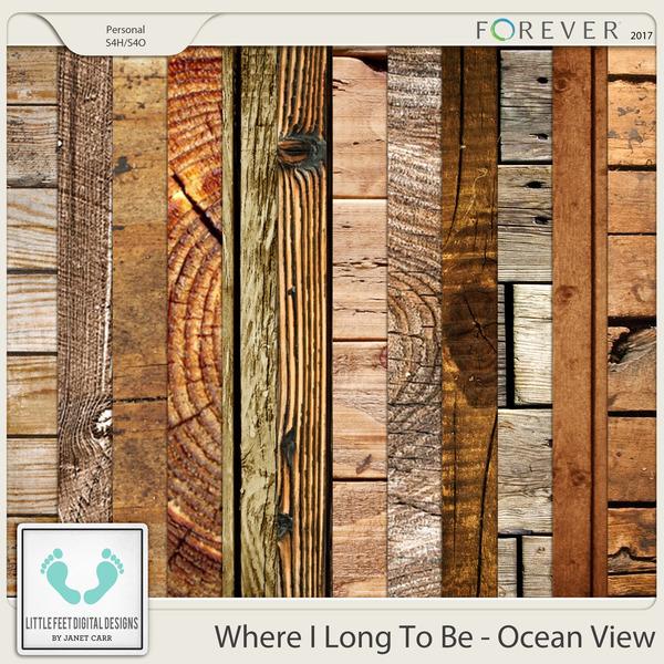 Where I Long To Be - Ocean View Wood Papers Digital Art - Digital Scrapbooking Kits
