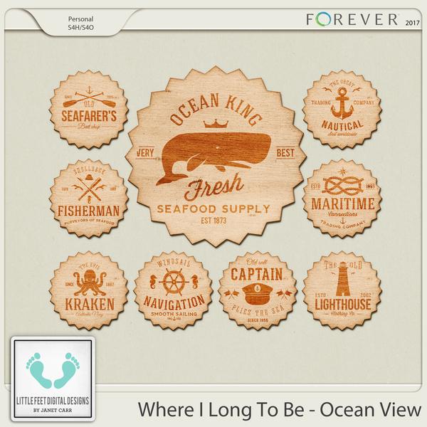 Where I Long To Be - Ocean View Wood Stickers Digital Art - Digital Scrapbooking Kits