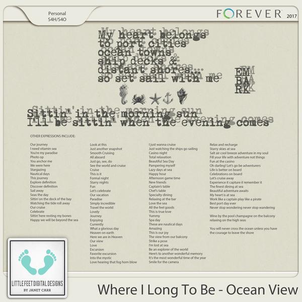 Where I Long To Be - Ocean View Word Art Expressions Digital Art - Digital Scrapbooking Kits