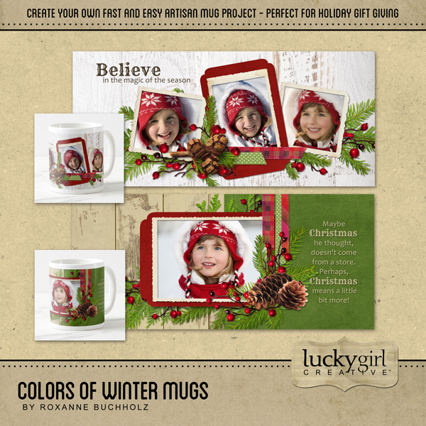 Colors Of Winter Mugs Digital Art - Digital Scrapbooking Kits
