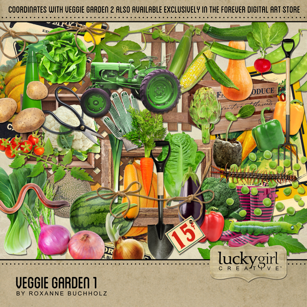Veggie Garden 1 Digital Art - Digital Scrapbooking Kits