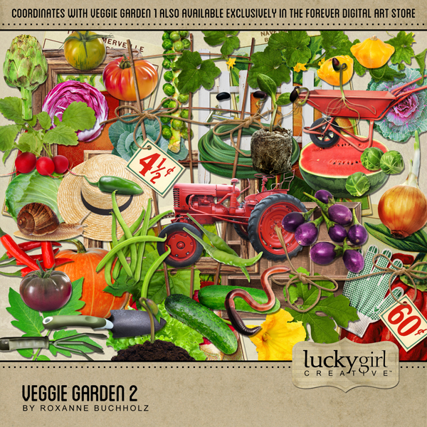 Veggie Garden 2 Digital Art - Digital Scrapbooking Kits