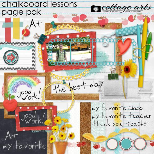 Chalkboard Lessons Page Pak Digital Art - Digital Scrapbooking Kits