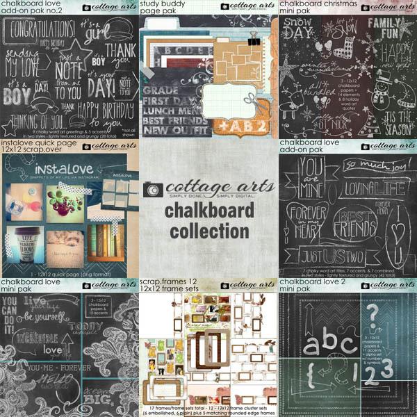 Chalkboard Collection Digital Art - Digital Scrapbooking Kits