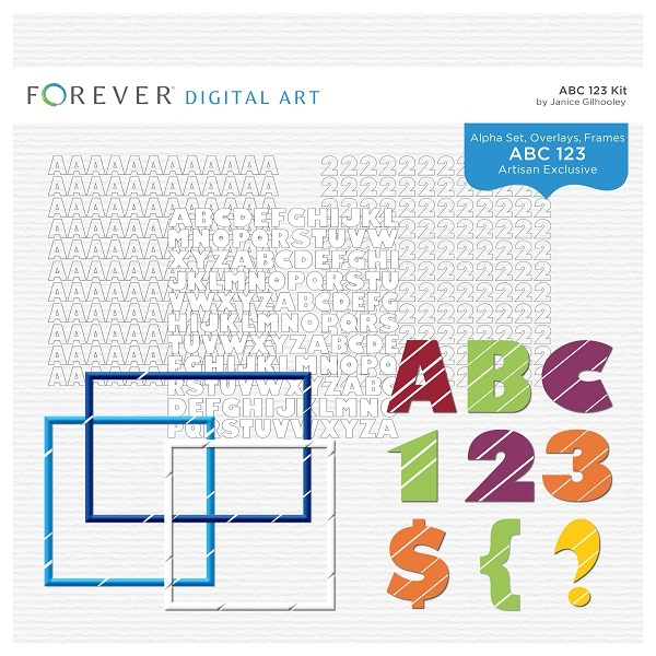 ABC 123 Kit Digital Art - Digital Scrapbooking Kits