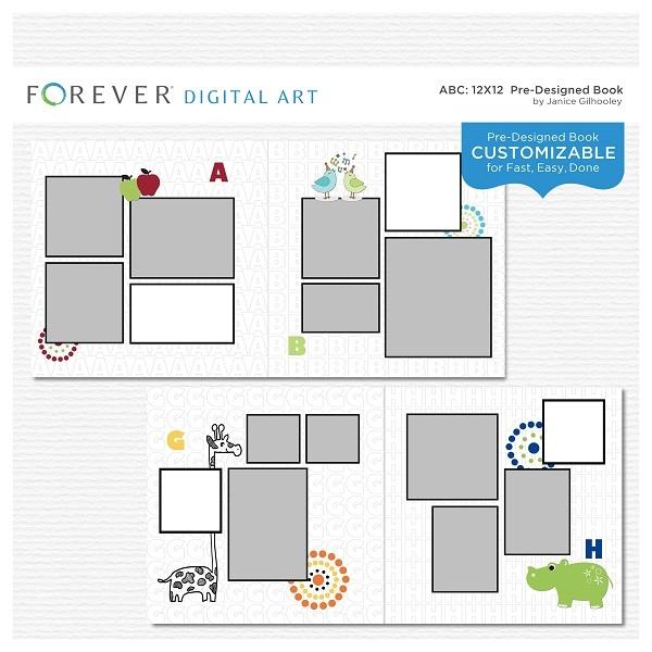 ABC Pre-designed Book Digital Art - Digital Scrapbooking Kits