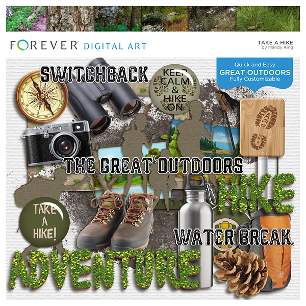 Take A Hike Digital Art - Digital Scrapbooking Kits