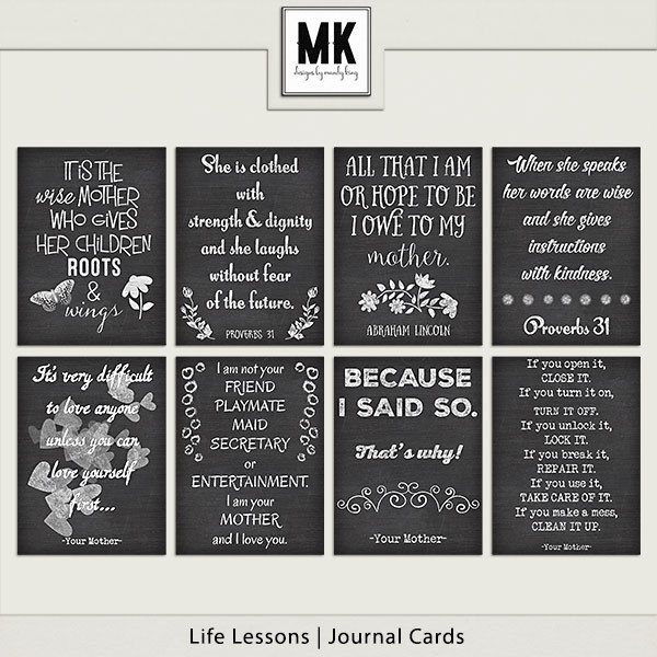 Life Lessons - Journal Cards Digital Art - Digital Scrapbooking Kits