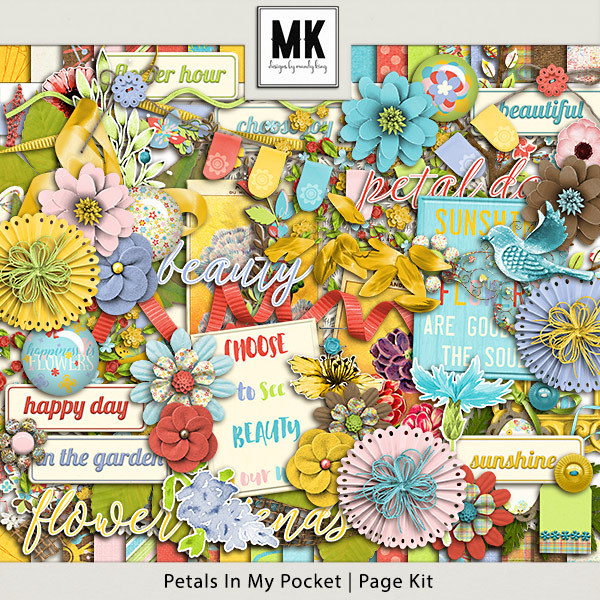 Petals In My Pocket - Page Kit Digital Art - Digital Scrapbooking Kits