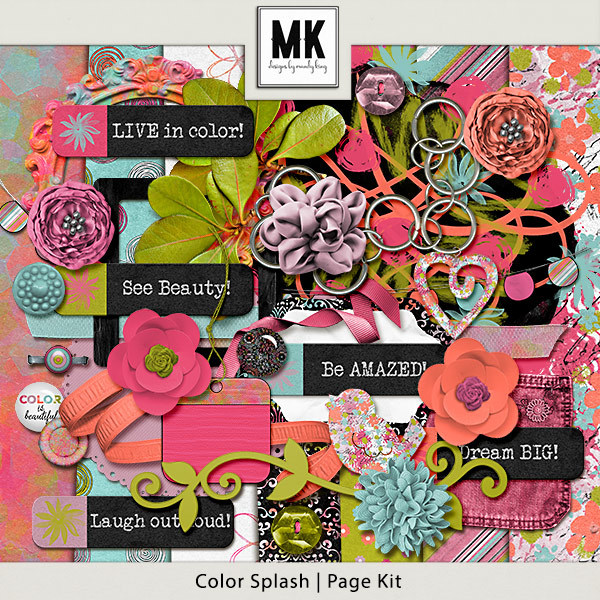 Color Splash - Page Kit Digital Art - Digital Scrapbooking Kits