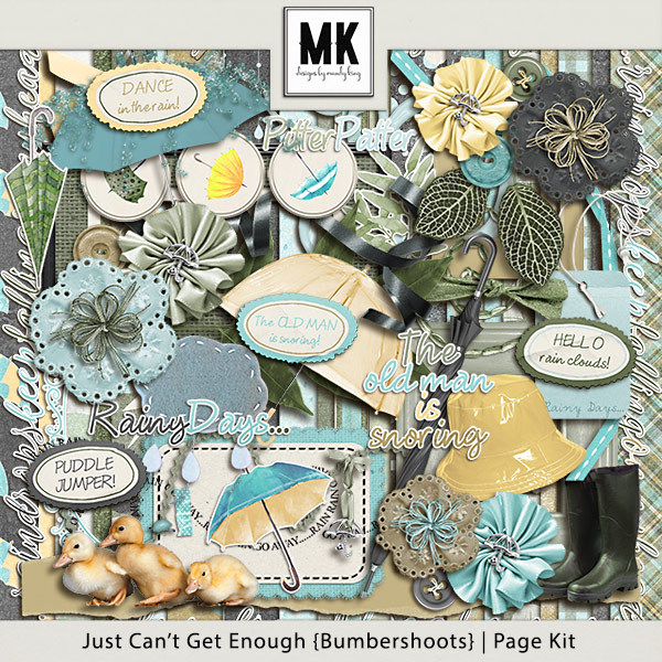 Just Can't Get Enough Bumbershoots - Page Kit Digital Art - Digital Scrapbooking Kits
