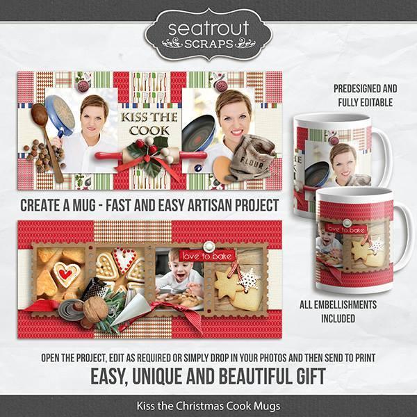 Kiss The Christmas Cook Mugs - Predesigned And Editable Digital Art - Digital Scrapbooking Kits