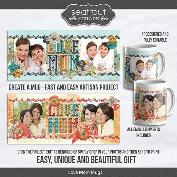 Love Mom Mugs - Predesigned And Editable Digital Art - Digital Scrapbooking Kits