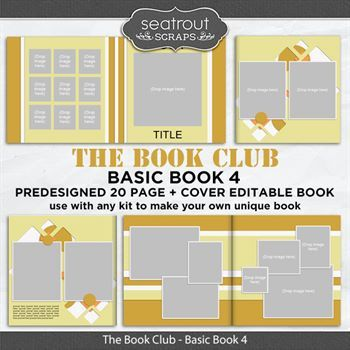 The Book Club - Basic Book 4 - Predesigned Editable Book Digital Art - Digital Scrapbooking Kits