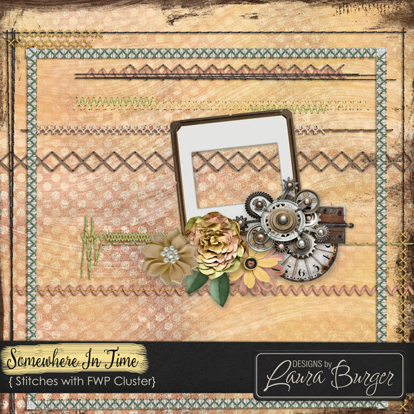 Somewhere In Time Stitches With Fwp Cluster Digital Art - Digital Scrapbooking Kits