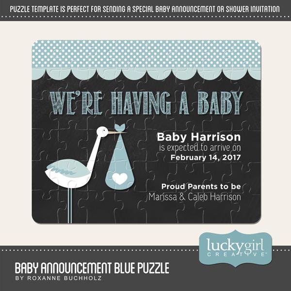 Baby Announcement Blue Puzzle Digital Art - Digital Scrapbooking Kits