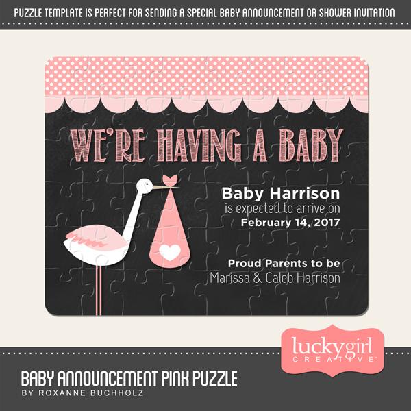 Baby Announcement Pink Puzzle Digital Art - Digital Scrapbooking Kits