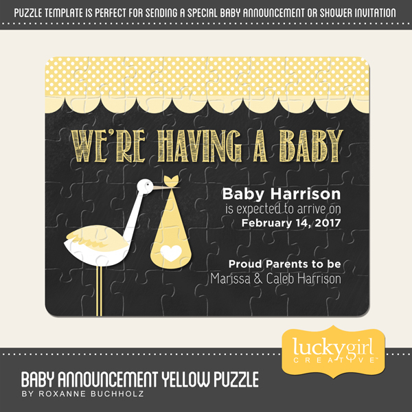 Baby Announcement Yellow Puzzle Digital Art - Digital Scrapbooking Kits