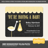 Baby Announcement Yellow Puzzle