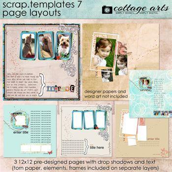 12 X 12 Scrap Templates 7 - Page Layouts Digital Art - Digital Scrapbooking Kits