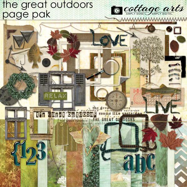 The Great Outdoors Page Pak Digital Art - Digital Scrapbooking Kits