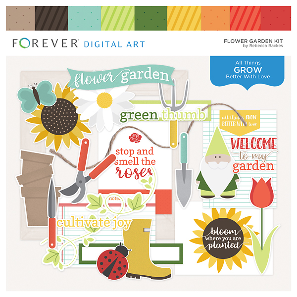 Flower Garden Kit Digital Art - Digital Scrapbooking Kits